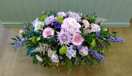 Pastel Country Garden Funeral Spray